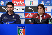 Head coach Italy Antonio Conte (R) and Gianluigi Buffon speak to the media during the press conference at Juventus Arena on March 30, 2015 in Turin, Italy.