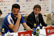 Head coach Antonio Conte (R) and Gianluigi Buffon during the Italy press conference at Gradski stadion u Poljudu on June 11, 2015 in Split, Croatia.