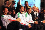 (L-R) Gianluigi Buffon, Davide Astori and Manolo Gabbiadini attend the launch of the new Puma home kit at Palazzo Vecchio on November 9, 2015 in Florence, Italy.