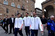 (L-R) Manolo Gabbiadini, Gianluigi Buffon and Davide Astori of Italy attend at Palazzo Vecchio on November 9, 2015 in Florence, Italy.
