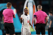 Raheem Sterling of England reacts towards the match officials following his teams defeat during the UEFA Euro 2020 Championship Final between Italy and England at Wembley Stadium on July 11, 2021 in London, England.