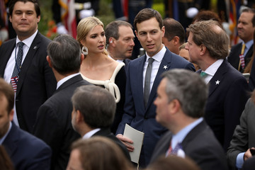Ivanka Trump Jared Kushner President Trump And First Lady Melania Trump Welcome President Macron And Mrs. Macron To The White House