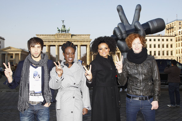 """""""The Voice Of Germany"""" - Finalists Photocall [the voice of germany,people,tourism,event,team,travel,singers,kim sanders,michael schulte,max giesinger,ivy quainoo,photocall,l-r,brandenburg gate,germany]"""