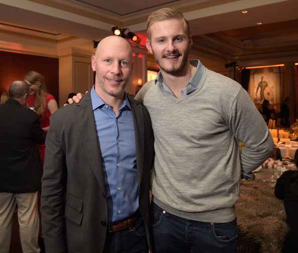Executive Vice President and General Manager of HISTORY and H2, Dirk Hoogstra (L) and actor Alexander Ludwig attend the JAN 2015 TCA History Vikings Party on January 9, 2015 in Pasadena, California.