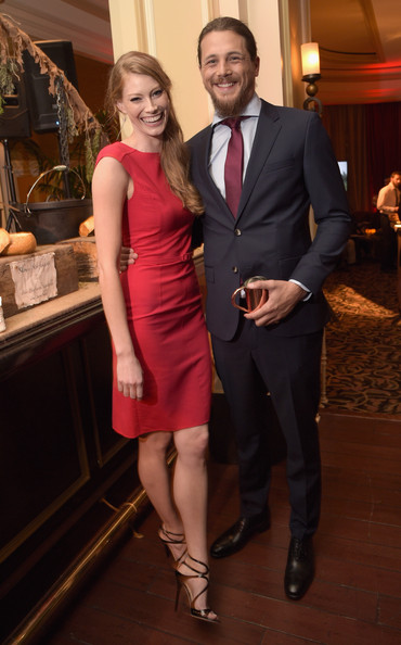 Actors Alyssa Sutherland (L) and Ben Robson attend the JAN 2015 TCA History Vikings Party on January 9, 2015 in Pasadena, California.