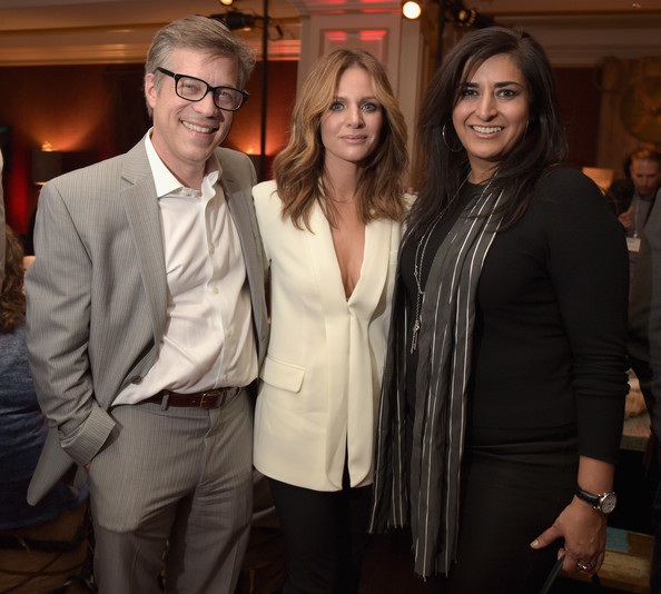(L-R) President, Television Production, MGM Television Studios, Steve Stark, actress Jessalyn Gilsig and President, Television Group and Digital, MGM Studios, Roma Khanna attend the JAN 2015 TCA History Vikings Party on January 9, 2015 in Pasadena, California.
