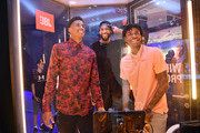 Jarrett Culver, draftee and JBL panelist; Andre Drummond, NBA star and JBL ambassador; and Ja Morant, draftee and JBL Partner test their knowledge at the JBL Quiz Booth at JBL Full-Court Press, an exclusive panel discussion with professional basketball players and top pick draftees moderated by Jay Williams of The Players' Tribune. The event was held at the HARMAN Store on June 18, 2019 in New York City.