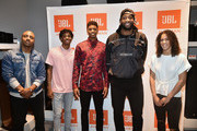(L-R)  Jay Williams of The Players' Tribune; Ja Morant, draftee and JBL Partner; Jarrett Culver, draftee and JBL panelist; Andre Drummond, NBA star and JBL ambassador; Kia Nurse, WNBA star and JBL panelist pose for a photo together at JBL Full-Court Press, an exclusive panel discussion with professional basketball players and top pick draftees. The event was held at the HARMAN Store on June 18, 2019 in New York City.