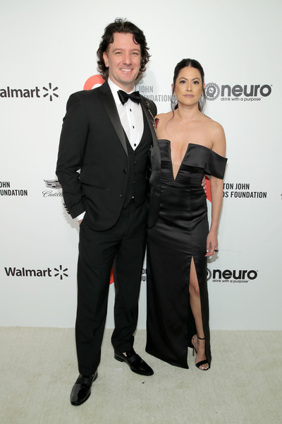 28th Annual Elton John AIDS Foundation Academy Awards Viewing Party Sponsored By IMDb, Neuro Drinks And Walmart - Arrivals [suit,clothing,formal wear,tuxedo,fashion,dress,event,premiere,little black dress,white-collar worker,neuro drinks,arrivals,elton john aids foundation academy awards viewing party,jennifer huyoung,jc chasez,l-r,west hollywood,california,walmart,imdb,jc chasez,getty images,stock photography,photography,image,nsync,photograph,celebrity,pop music]