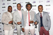 Ortise Williams, Marvin Humes, J B Gill and Aston Merrygold formerly of JLS attend the JLS Foundation and Cancer Research UK fundraiser at Battersea Evolution on June 6, 2013 in London, England.