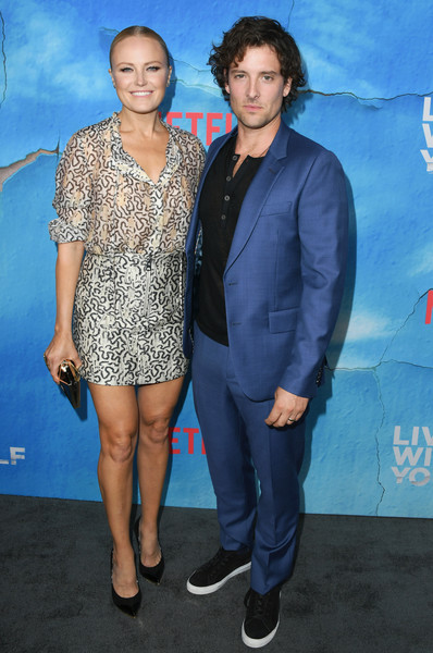"""Premiere Of Netflix's """"Living With Yourself"""" - Arrivals [clothing,premiere,event,suit,dress,electric blue,cocktail dress,fashion design,carpet,performance,arrivals,jack donnelly,malin akerman,living with yourself,arclight hollywood,california,netflix,premiere,premiere]"""
