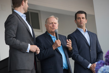 Jack Nicklaus Donald Trump Jr., Eric Trump, And Golfer Jack Nicklaus Unveil New Clubhouse At Trump Golf Links