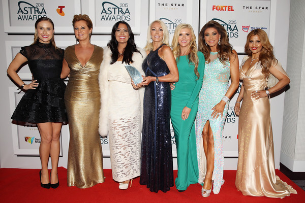 ASTRA Awards Awards Room [jackie gillies,members,chyka keebaugh,gina liano,gamble breaux,pettifleur berenger,lydia schiavello,award,red carpet,carpet,dress,fashion,event,premiere,flooring,gown,shoulder,fashion design,astra awards - awards room,real housewives]