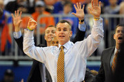 Coach Billy Donovan of the Florida Gators directs play against the Jackson State Tigers November 11, 2011 at the Stephen C. O'Connell Center in Gainesville, Florida.