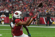 Larry Fitzgerald #11 of the Arizona Cardinals makes a pass in the first half against the Jacksonville Jaguars at University of Phoenix Stadium on November 26, 2017 in Glendale, Arizona.