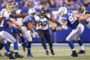 Chris Ivory #33 of the Jacksonville Jaguars runs with the ball against the Indianapolis Colts during the fourth quarter at Lucas Oil Stadium on October 22, 2017 in Indianapolis, Indiana.