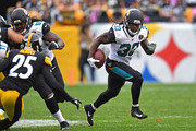 Chris Ivory #33 of the Jacksonville Jaguars rushes against the Pittsburgh Steelers in the second half during the game at Heinz Field on October 8, 2017 in Pittsburgh, Pennsylvania.