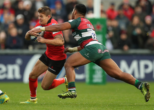 Ulster Rugby vs. Leicester Tigers - Heineken Champions Cup [sports,team sport,ball game,rugby sevens,rugby union,rugby player,tackle,rugby league,rugby,rugby tens,jacob stockdale,manu tuilagi,v,ulster,united kingdom,leicester tigers,ulster rugby,heineken,champions cup,match]