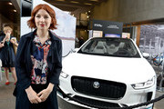 Alice Levine poses with the Land Rover I-Pace Technology with Heart: Jaguar Land Rover's Tech Fest at Central St Martins on September 7, 2017 in London, England.