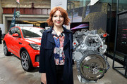 Alice Levine poses with the Land Rover E-Pace at the Technology with Heart: Jaguar Land Rover's Tech Fest at Central St Martins on September 7, 2017 in London, England.
