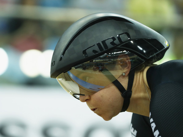 2017 UCI World Cycling - Day Four [helmet,personal protective equipment,sports gear,eyewear,glasses,headgear,goggles,motorcycle helmet,competition event,bicycle helmet,jaime nielsen,womens individual pusuit qualifying,hong kong velodrome,new zealand,uci,world cycling,uci track cycling world championships]