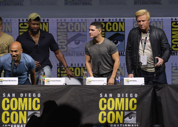 Comic-Con International 2018 - 20th Century Fox's 'The Predator' Panel [comic-con international 2018,comics,event,fiction,facial hair,beard,convention,augusto aguilera,jake busey,keegan-michael key,trevante rhodes,the predator panel,l-r,san diego convention center,20th century fox,panel]