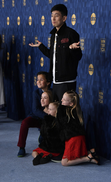 ABC Television's Winter Press Tour 2020 - Arrivals [winter press tour 2020 - arrivals,child,uniform,talent show,tyler wladis,mia allan,ella allan,jake choi,marlow barkley,pasadena,california,abc television,winter press tour 2020,jake choi,marlow barkley,single parents,stock photography,photograph,getty images,image,los angeles]