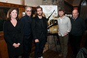 "(L-R) Executive Producer Molly Thompson, Producer John Lesher, Actor Jake Gyllenhaal,   Director/Producer Matthew Heineman and Producer Tom Yellin attend a dinner hosted by Jake Gyllenhaal and John Lesher to honor ""Cartel Land"" a film by Matthew Heineman, executive produced by Kathryn Bigelow at Locanda Verde on December 20, 2015 in New York City."