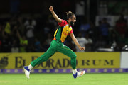 FORT LAUDERDALE, UNITED STATES- AUGUST 18: In this handout image provided by CPL T20, Imran Tahir of Guyana Amazon Warriors celebrates during the Hero Caribbean Premier League match between Jamaica Tallawahs and Guyana Amazon Warriors at Central Broward Regional Park on August 18, 2018 in Florida, United States.
