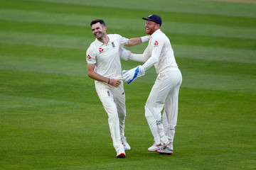 James Anderson Jonny Bairstow England v India: Specsavers 5th Test - Day Five