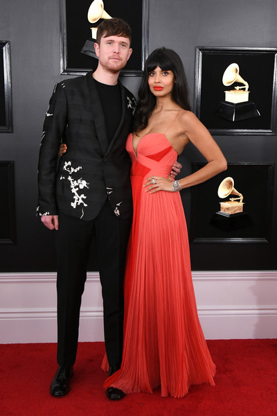 61st Annual Grammy Awards - Arrivals [red carpet,carpet,clothing,dress,flooring,fashion,gown,strapless dress,formal wear,event,arrivals,james blake,jameela jamil,grammy awards,staples center,los angeles,california,annual grammy awards]