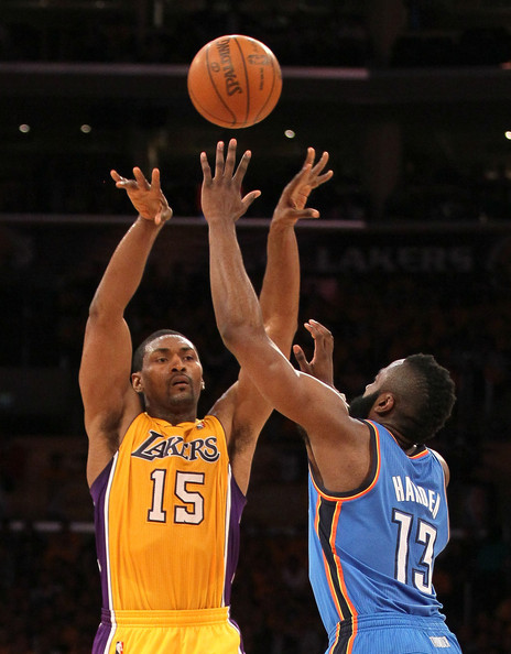580c3e57a5d James Harden and Metta World Peace Photos»Photostream · Pictures · Oklahoma  City Thunder v Los Angeles Lakers - Game Three