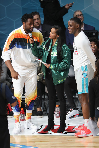 2019 NBA All-Star Celebrity Game - Inside [championship,competition event,event,team,sports,player,competition,tournament,team sport,charlotte,north carolina,bojangles coliseum,nba all-star celebrity game - inside,dwyane wade,r,james shaw jr]