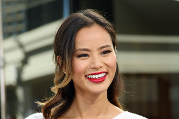 Jamie Chung Celebs Stop by the 'Extra' Set