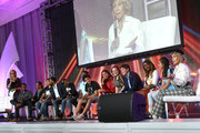 Laurie Dhue, TV Journalist with Youth Activists, Brian Ball, Jasmine Burton, Jaclyn Charger, Nicholas Cousar, Charlie Lucas, Hannah Lucas, Royce Mann, Alice Brown Otter, Carter Ries, Olivia Ries, Ronitta Whipple and Nawroz Youssef with Jane Fonda, GCAPP Founder, Board Chair Emeritus attend the 2018 Georgia Campaign for Adolescent Power & Potential (GCAPP) Youth EmPowerment Summit hosted by Jane Fonda on October 5, 2018 in Atlanta City.