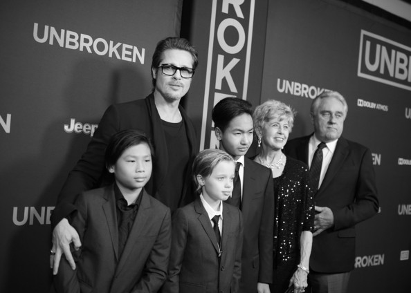 'Unbroken' Premieres in Hollywood — Part 2 [event,premiere,black-and-white,photography,monochrome,white-collar worker,flooring,style,movie,brad pitt,shiloh nouvel jolie-pitt,jane pitt,maddox jolie-pitt,alternative view,c,unbroken,pax thien jolie-pitt,universal studios,premiere]