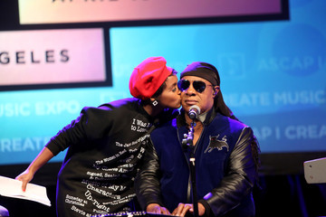 Janelle Monae Stevie Wonder Presented With Key of Life Award at the ASCAP I Create Music Expo