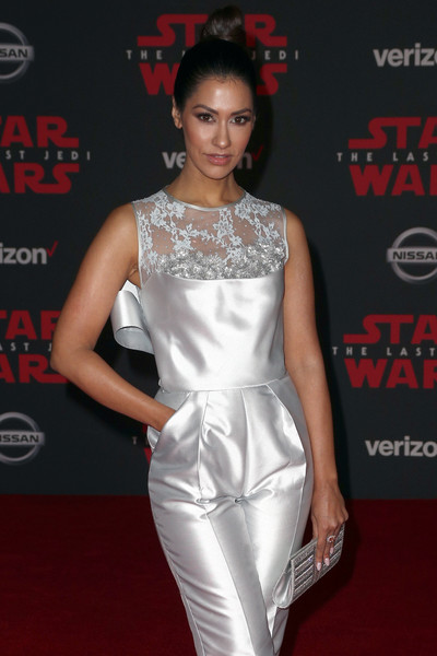 Premiere of Disney Pictures and Lucasfilm's 'Star Wars: The Last Jedi' - Arrivals [star wars: the last jedi,clothing,fashion model,white,dress,shoulder,fashion,hairstyle,red carpet,premiere,cocktail dress,arrivals,janina gavankar,the shrine auditorium,california,los angeles,disney pictures,lucasfilm,premiere,premiere]
