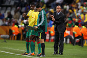 Paul Le Guen head coach of Cameroon shouts orders to his players during the 2010 FIFA World Cup South Africa Group E match between Japan and Cameroon at the Free State Stadium on June 14, 2010 in Mangaung/Bloemfontein, South Africa.