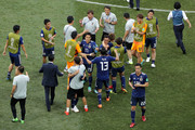 Japan players celebrate following the 2018 FIFA World Cup Russia group H match between Japan and Poland at Volgograd Arena on June 28, 2018 in Volgograd, Russia.
