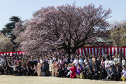 Japan's Prime Minister Shinzo Abe and his wife Akie pose for photographs with guest attendees during the cherry blossom viewing party at the Shinjuku Gyoen National Garden on April 13, 2019 in Tokyo, Japan.