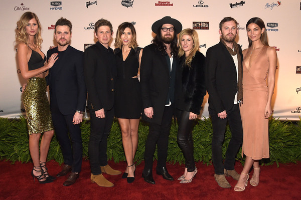 Sports Illustrated 2015 Swimsuit Takes Over The Schermerhorn Symphony Center [sports illustrated,social group,red carpet,event,carpet,premiere,flooring,formal wear,suit,team,lily aldridge,matthew followill,martha patterson,jared,nathan followill,caleb followill,schermerhorn symphony center,kings of leon,event]