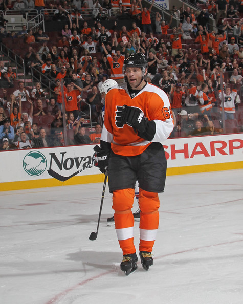 Jaromir Jagr Jaromir Jagr #68 of the Philadelphia Flyers celebrates his second goal of the evening against the New York Rangers during an NHL preseason game at Wells Fargo Center on September 26, 2011 in Philadelphia, Pennsylvania.