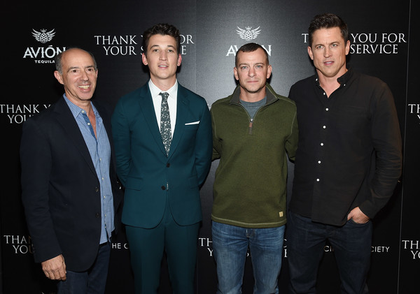 The Cinema Society Host a Screening of DreamWorks and Universal Pictures' 'Thank You for Your Service' [event,premiere,suit,jason hall,adam schumann,miles teller,jon kilik,thank you for your service,l-r,universal pictures,dreamworks,cinema society host a screening of dreamworks,screening]