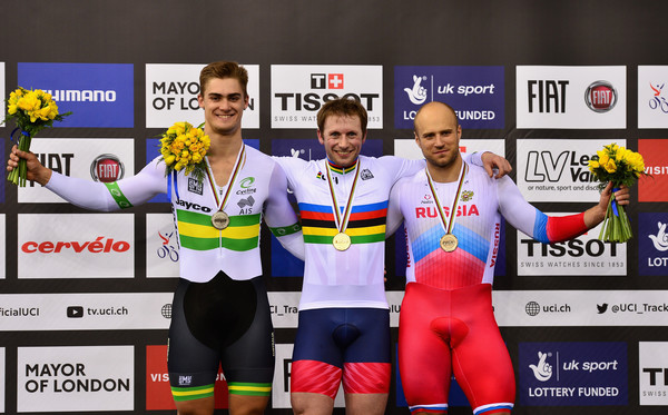UCI Track Cycling World Championships - Day Four [sports,silver medal,team,competition event,championship,recreation,competition,technology,electronic device,individual sports,jason kenny,silver medallist,matthew glaetzer,bronze medallist,denis dmitriev,medal podium,l-r,australia,russia,uci track cycling world championships]