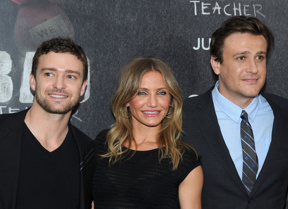 "Jason Segel Actors Justin Timberlake, Cameron Diaz and Jason Segel attend the premiere of ""Bad Teacher"" at the Ziegfeld Theatre on June 20, 2011 in New York City."
