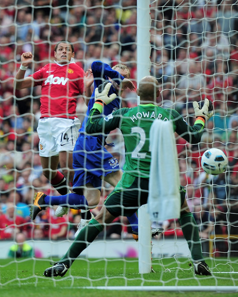 Javier Hernandez Javier Hernandez of Manchester United heads the opening goal during the Barclays Premier League match between Manchester United and Everton at Old Trafford on April 23, 2011 in Manchester, England.