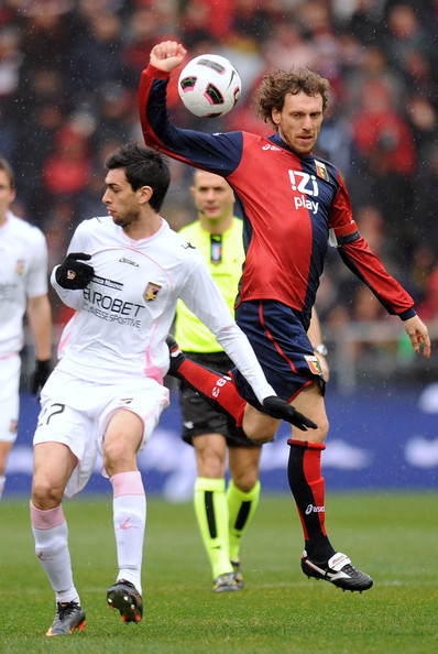 Javier Pastore Javier Pastore (L) of Palermo jumps for the ball with Marco Rossi of Genoa during the Serie A match between Genoa CFC and US Citta di Palermo at Stadio Luigi Ferraris on March 13, 2011 in Genoa, Italy.