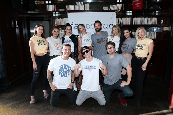 Kristen Doute's James Mae Launch Party [social group,team,event,youth,fun,crew,t-shirt,leisure,party,kristen doute,brittany cartwright,lala kent,brian carter,stassi schroeder,backrow l-r,frontrow l-r,launch party,james mae,james mae launch party]