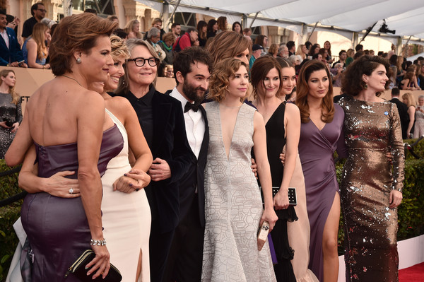 22nd Annual Screen Actors Guild Awards - Red Carpet [red carpet,dress,event,gown,fashion,formal wear,ceremony,shoulder,haute couture,premiere,prom,actors,cherry jones,alexandra billings,carrie brownstein,jay duplass,melora hardin,screen actors guild awards,l-r,our lady j]